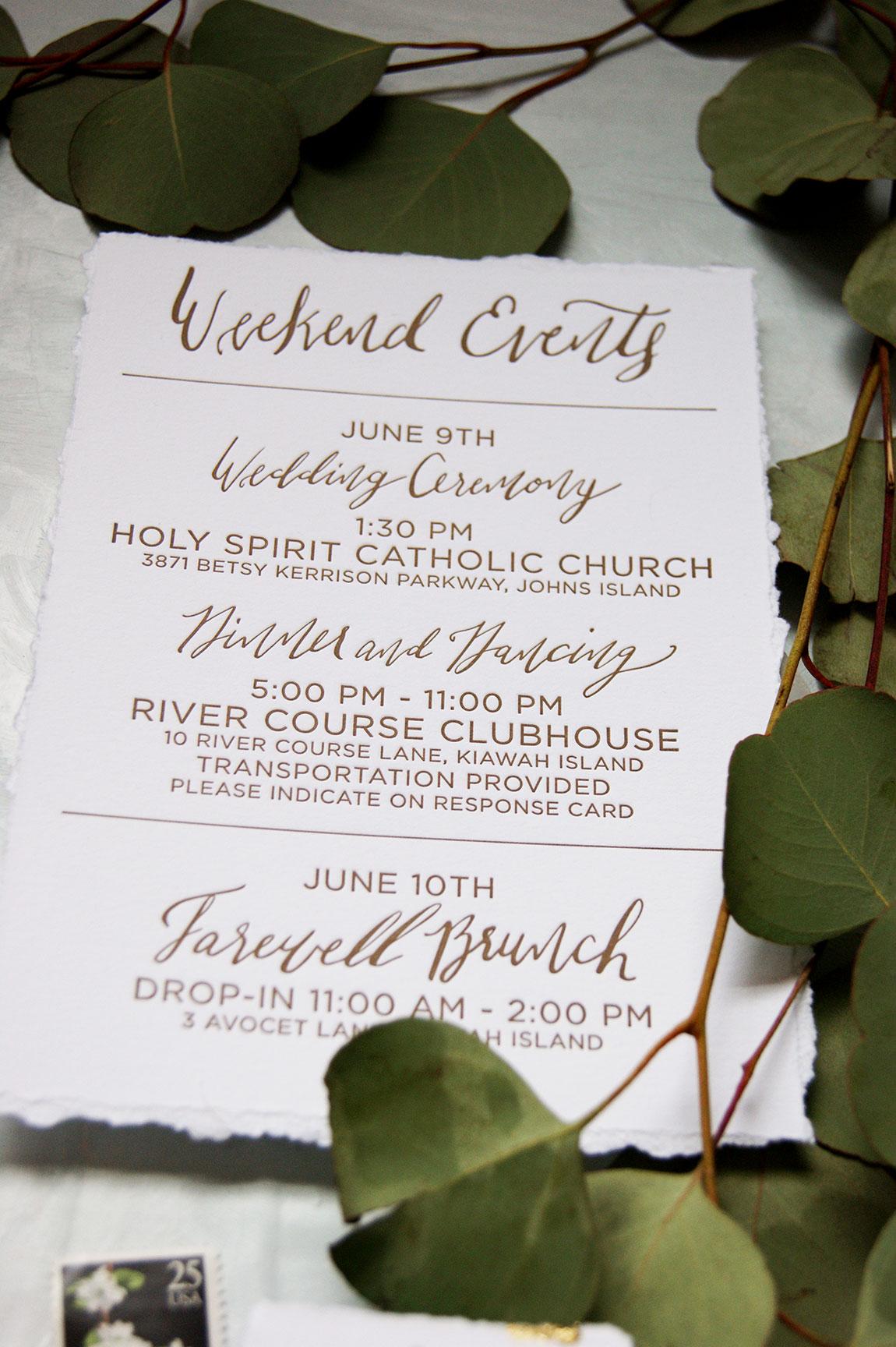 Kiawah Island Wedding Events Card