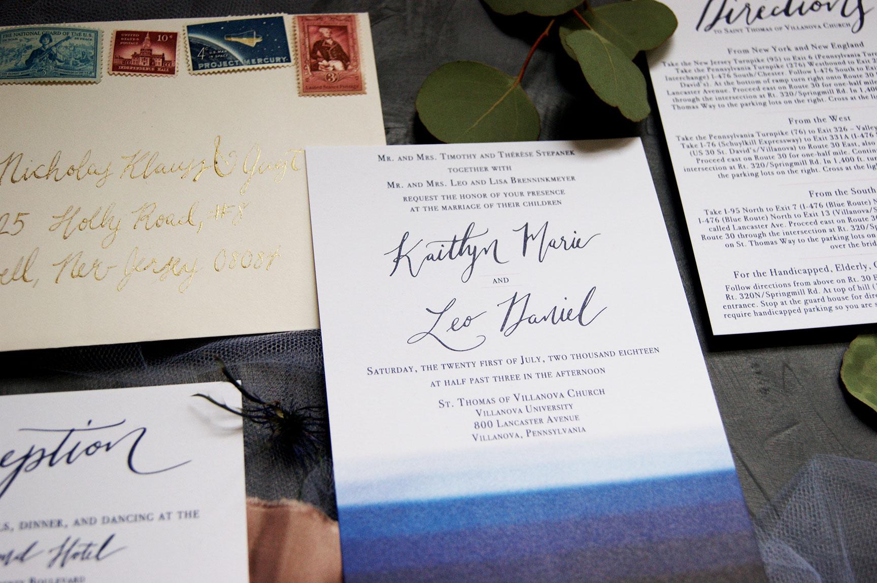 Navy, Blush, and Ivory Wedding Invitation