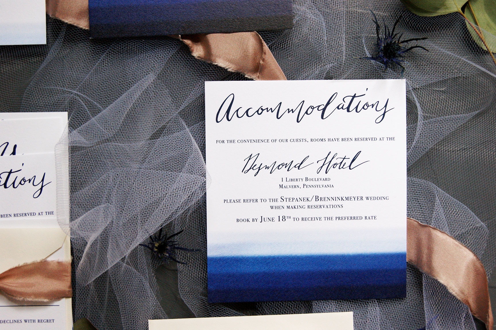 Navy Watercolor Accommodations Card
