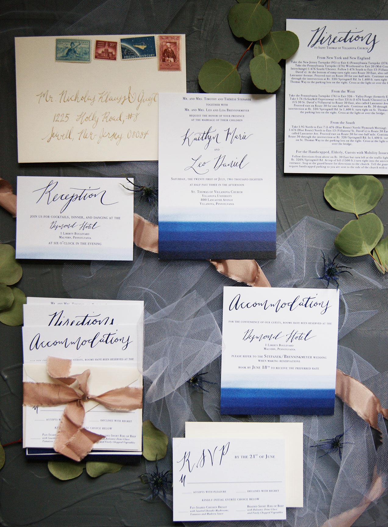 Navy and Blush Watercolor Wedding Suite