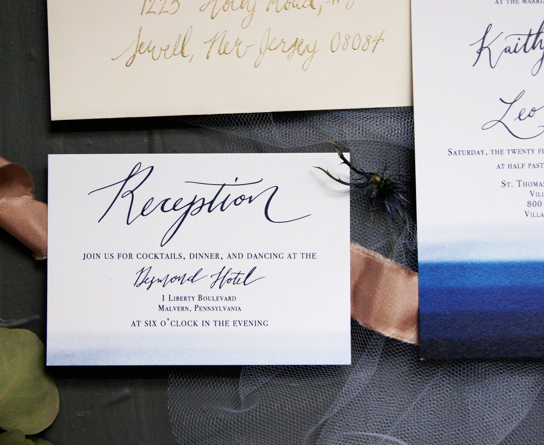 Blue Watercolor Reception Card