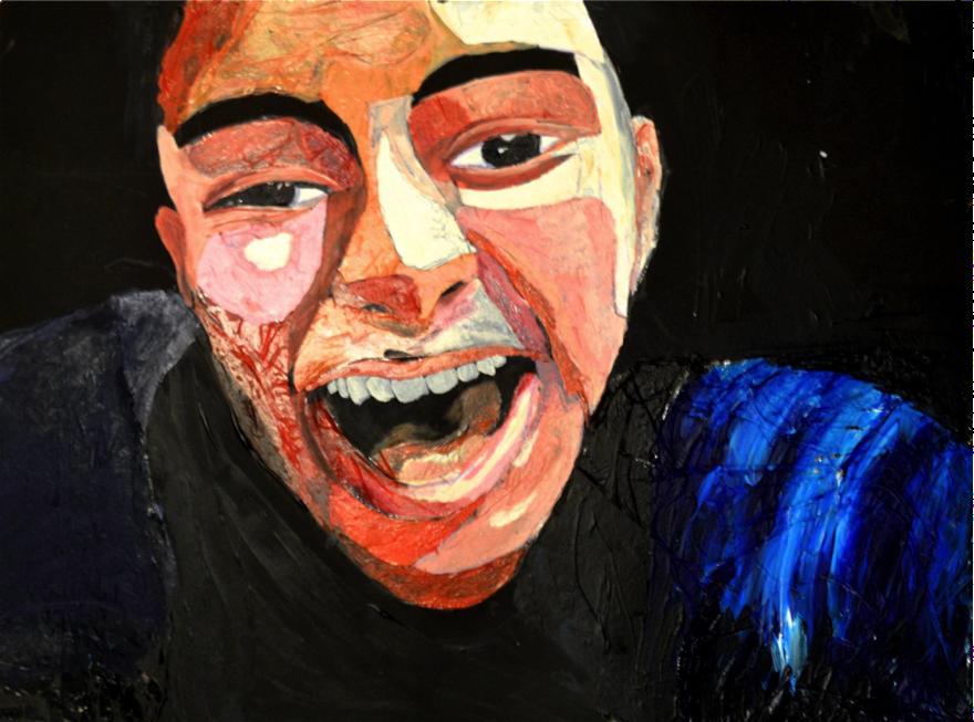 Self Portrait: Acrylic and Saran Wrap on Matteboard (2013)