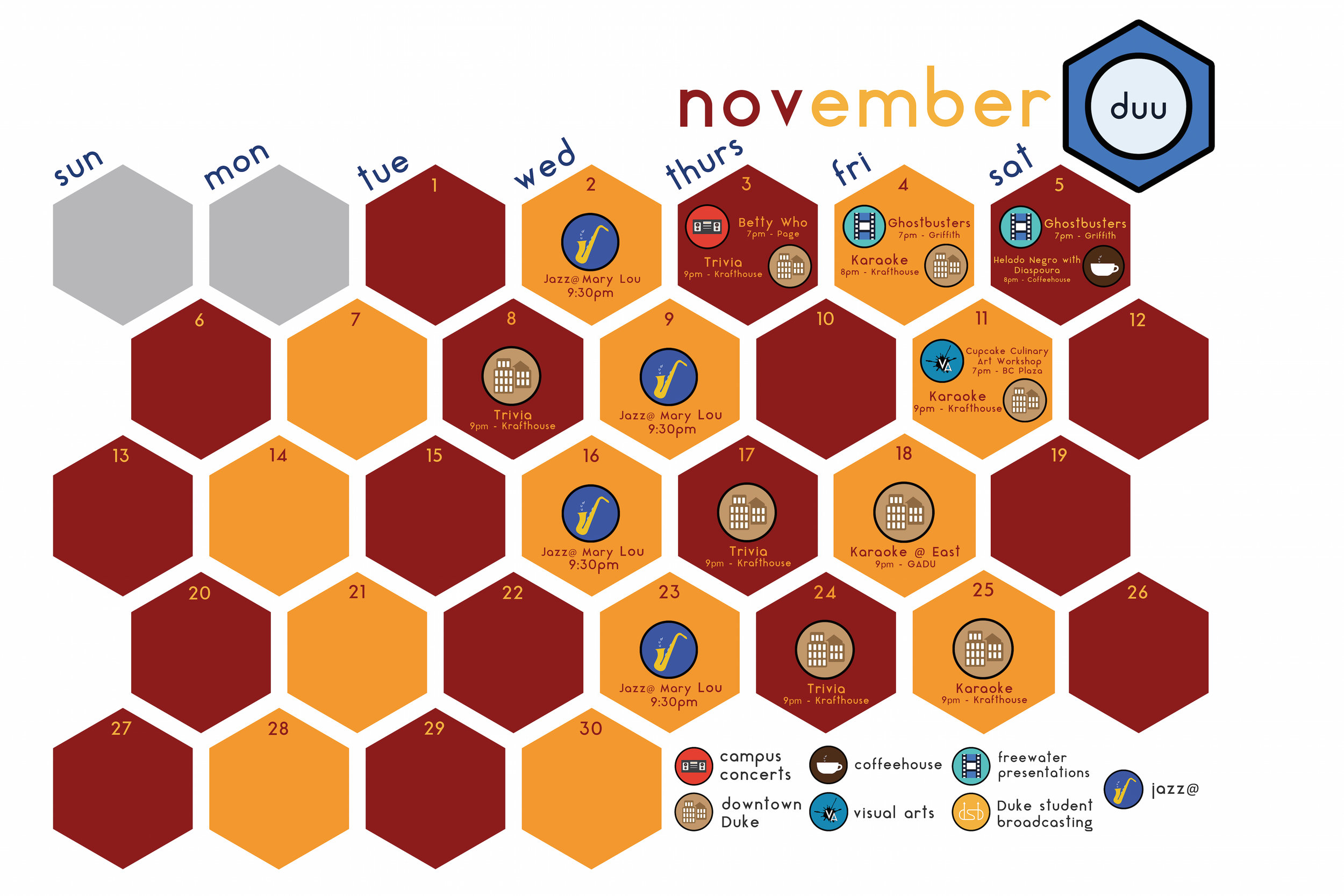 Calendar decal that displays all DUU sponsored events happening each month. View the design process here!  [Design team: Sonya Zhang, Peter Luo, Shreya Shankar]