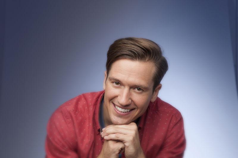 Smiling white adult man