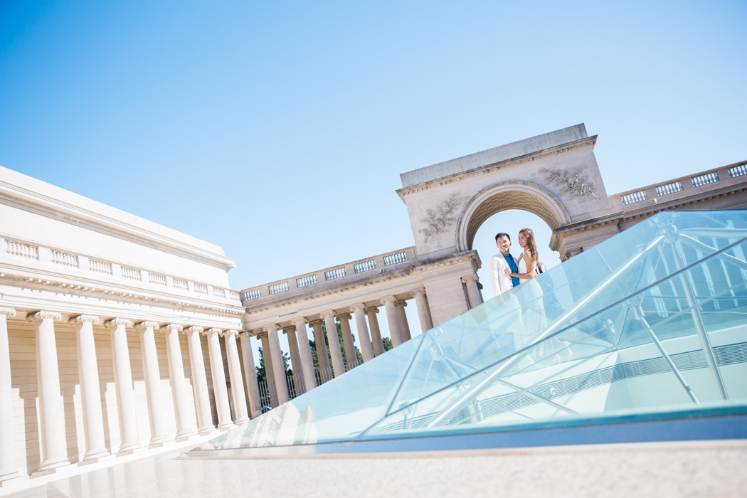 legion-of-honor-creative-angles-couple-engagement-photo-session