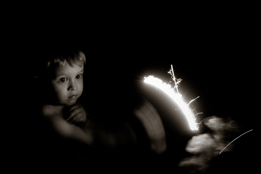 With a parent (and bucket of water) nearby, sparklers are a useful training tool for safety