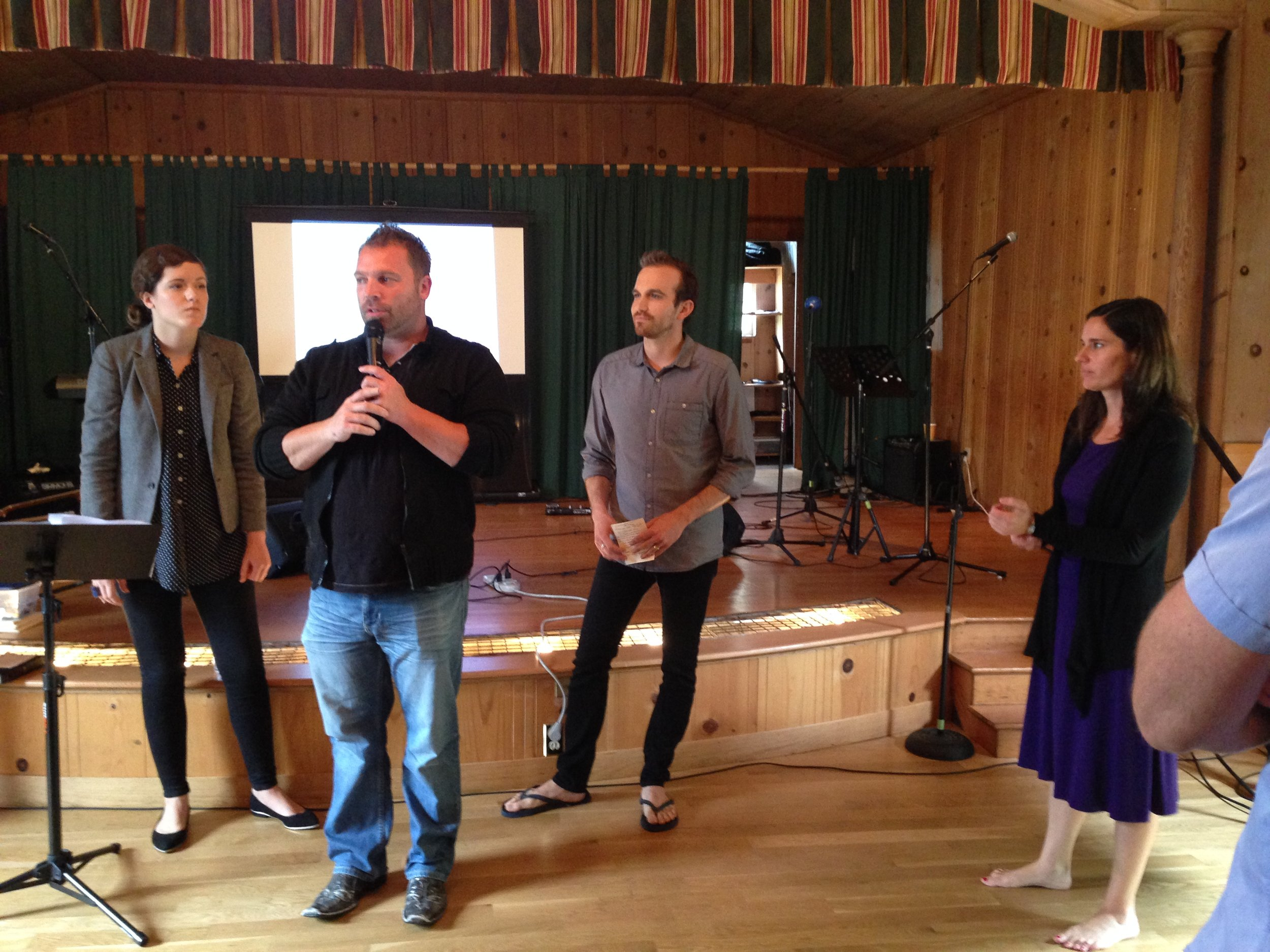 Jenny and James ministering with lead pastor Jake.