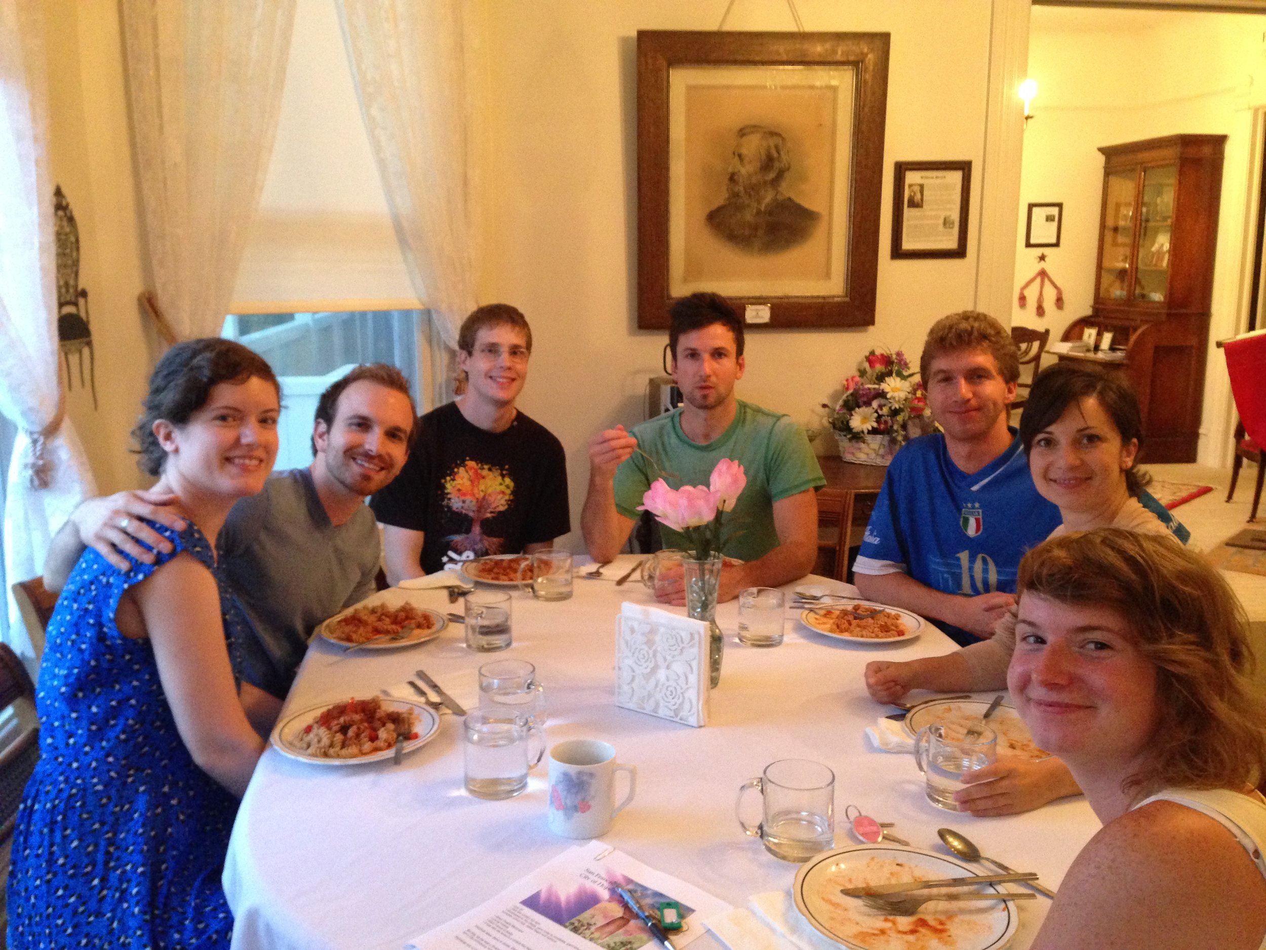Our Destiny House family with William Booth inside the Home of Peace. Jenny, James, Nick, Lukus, Michael, Simona, and Elisa.