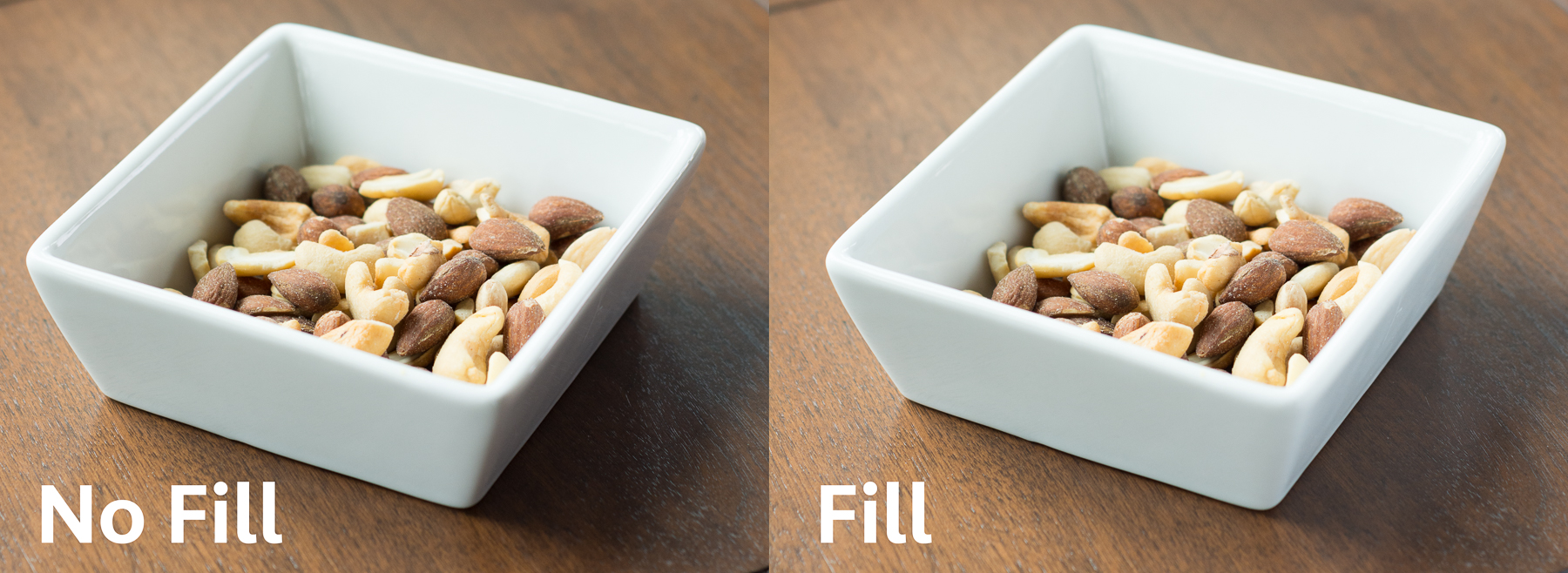 The effect of adding a white card, or 'fill' to fill the shadows. High contrast in the first photo can be a bit distracting. In the second photo, the right-hand side of the serving dish is lighter, and its shadow is lighter. As well, the left inner side of the dish is more evenly lit.