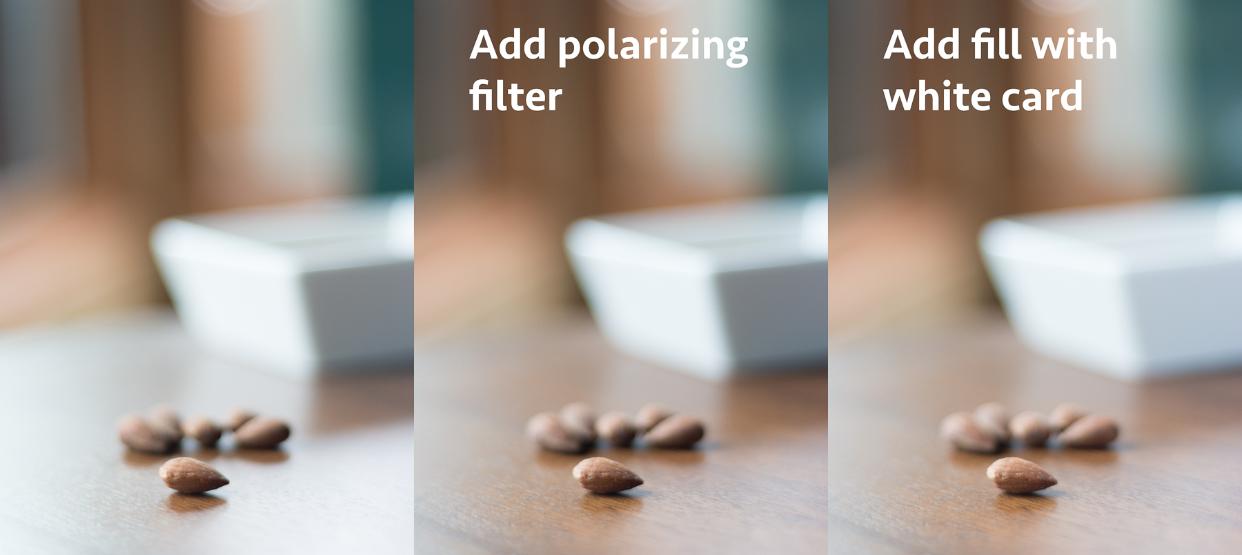 A polarizing filter is added to cut down on the reflection from the smooth table top. In other cases, the filter can help cut down reflections from shiny utensils and glass. Once again, experiment with it.