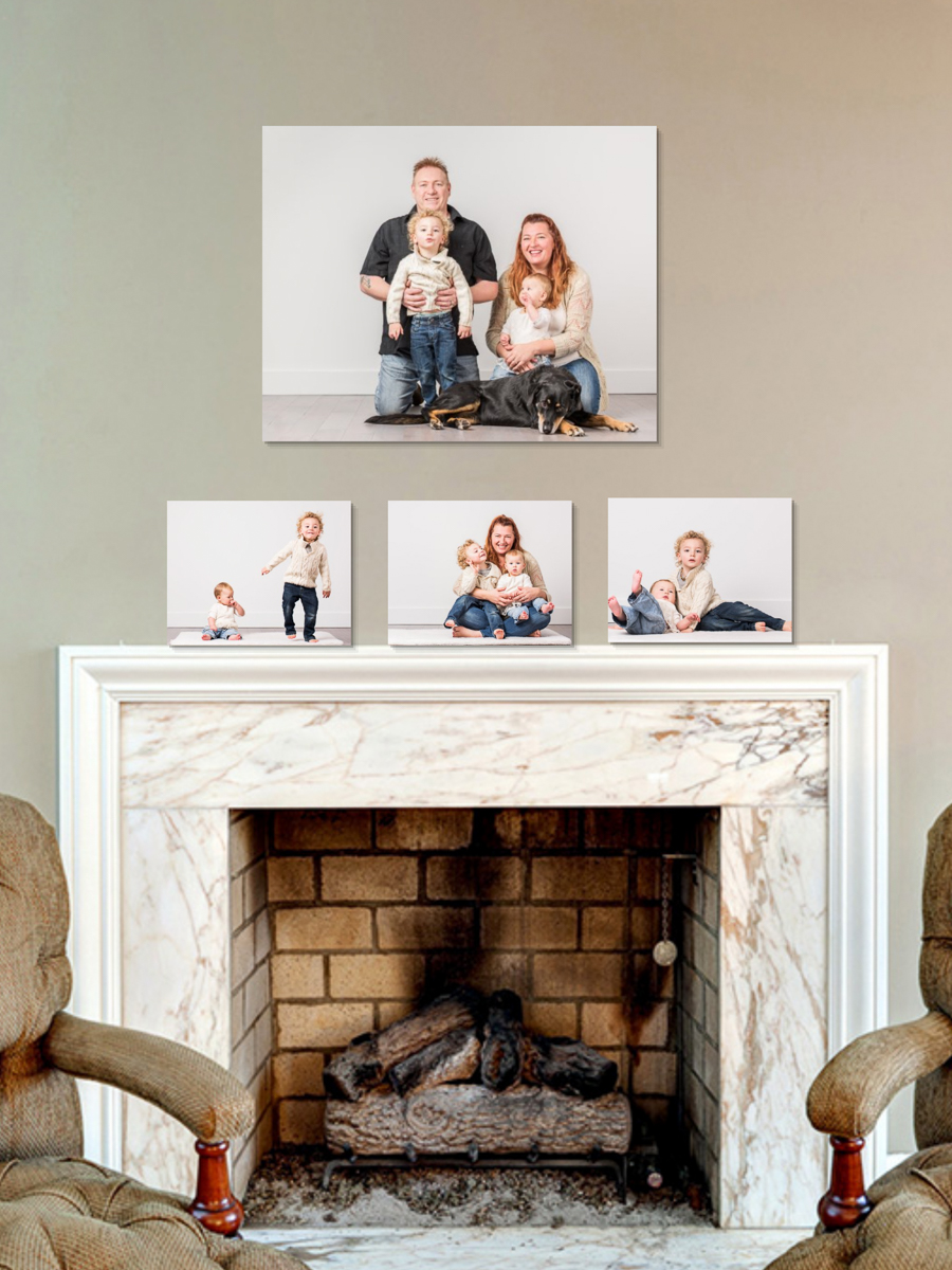 """Centrepiece - 24""""x30"""" family portrait is appropriately sized for the mantle, and a smaller grouping of 11""""x14"""" fun moments from the photoshoot help complete the story."""