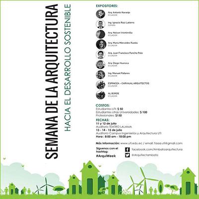 2016.07.15   Semana de la Arquitectura   Conferencia_Lecture  Facultad de Arquitectura, Universidad Técnica Indoamérica  Ambato, Ecuador
