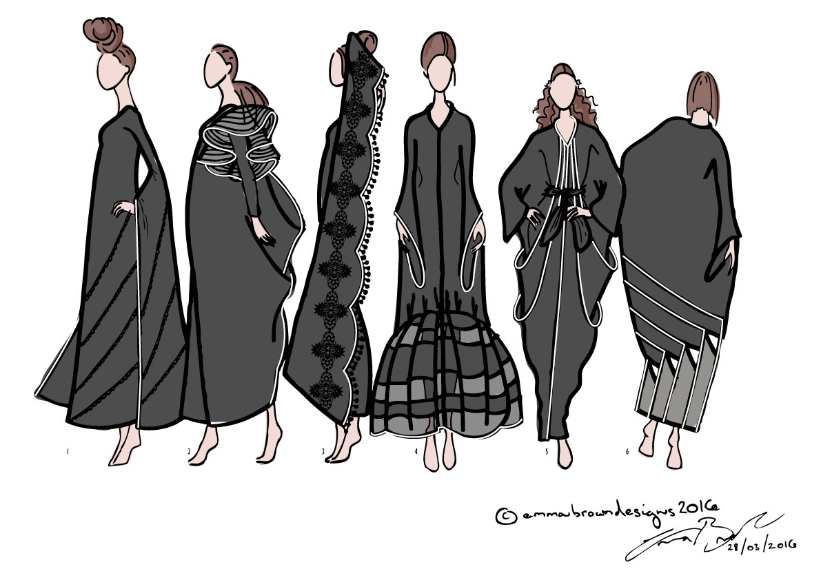 Emma Brown's Abaya Collection with colour added.