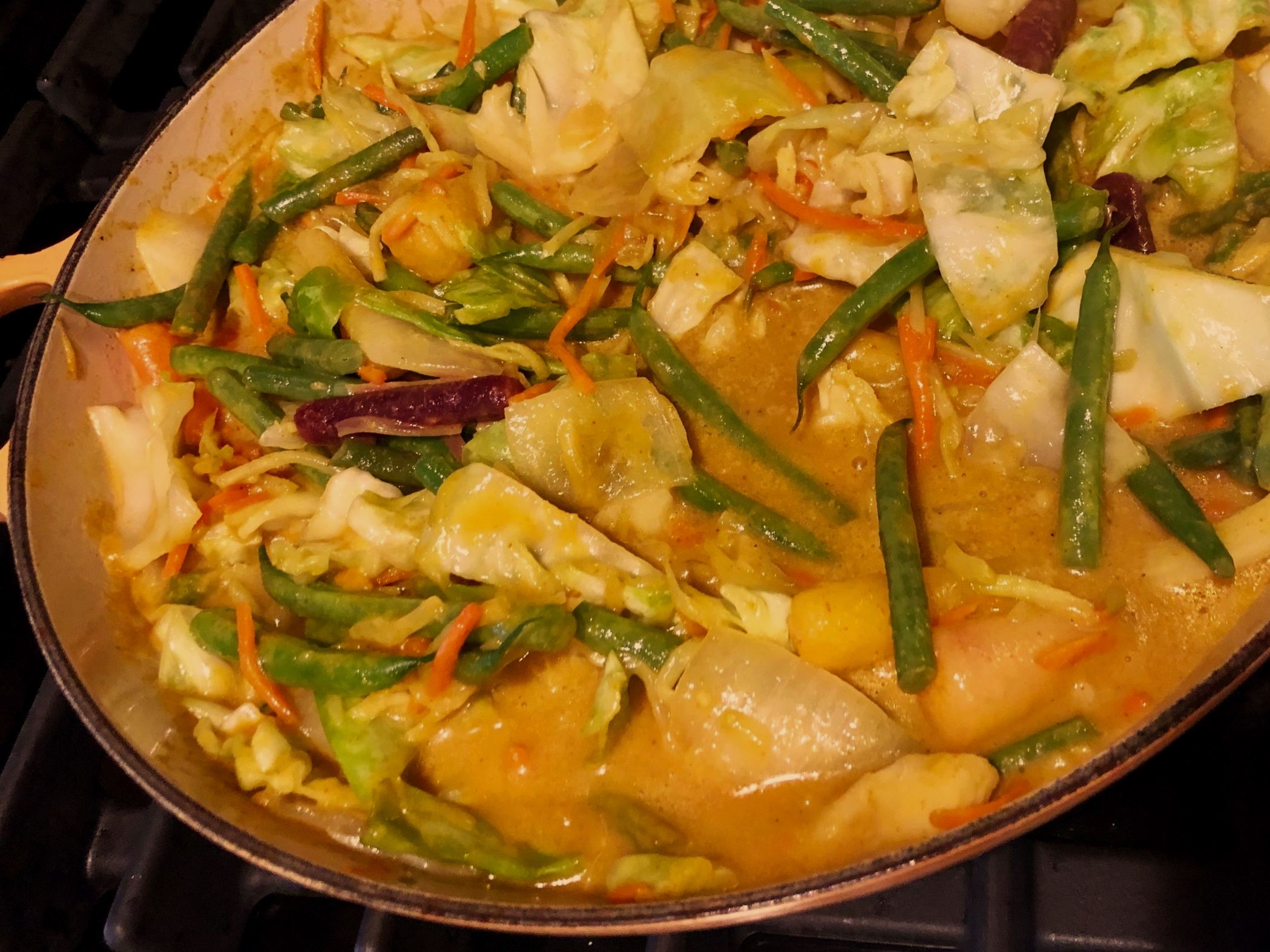 Veggies with curry sauce just added.
