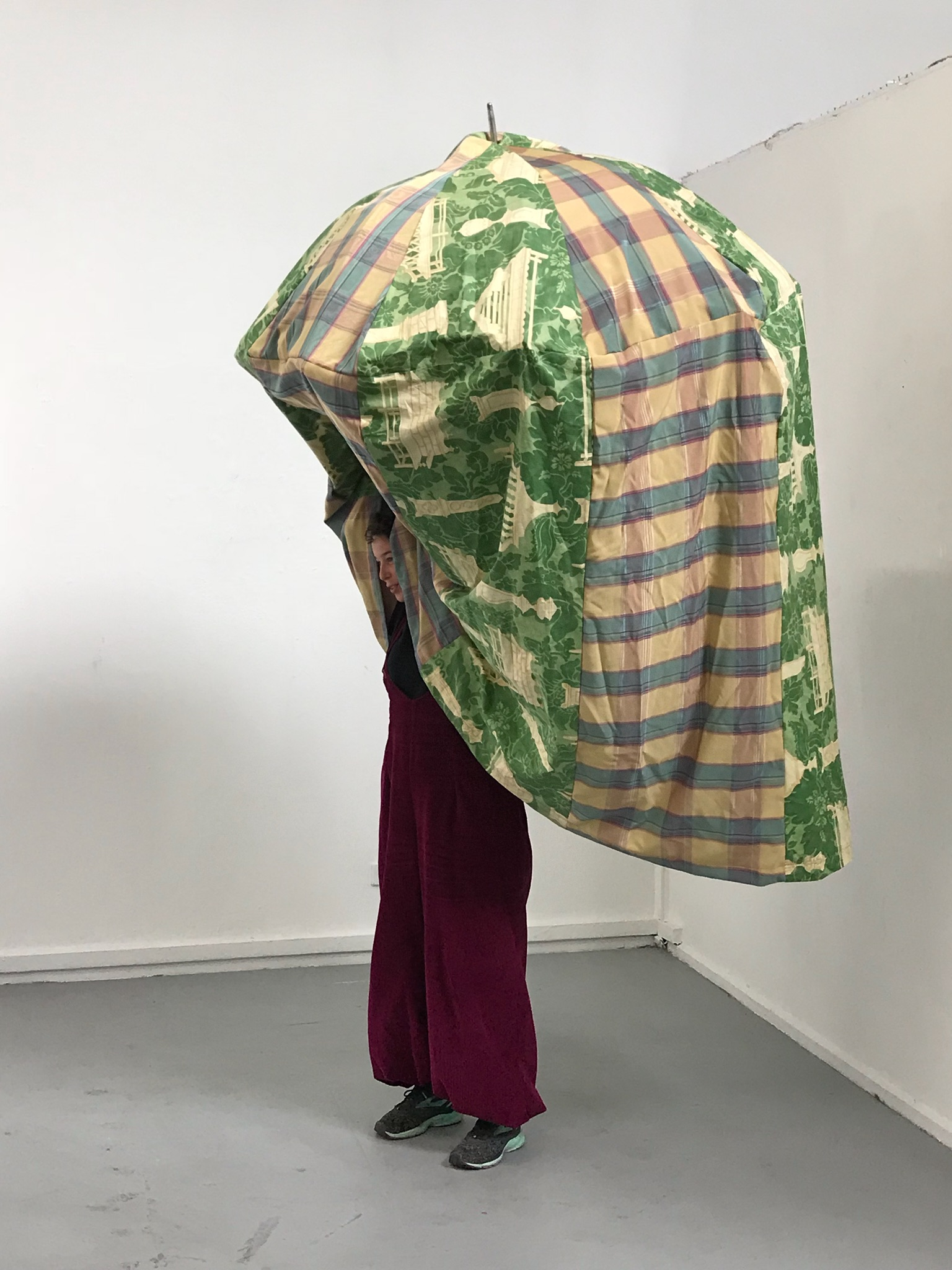 """Portable Quiet Room"" | 2018 | Umbrella, Apholstery Fabric, Performance"