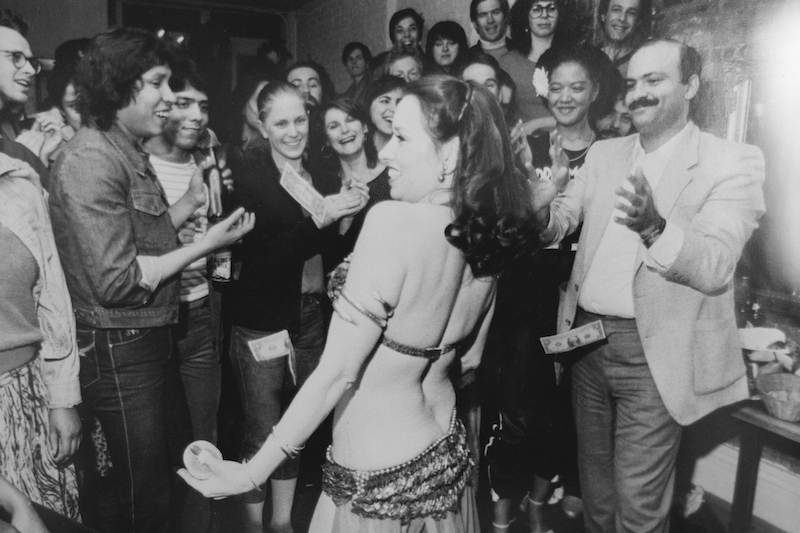 A belly dancer performing in Cafe Mogador in the 80's