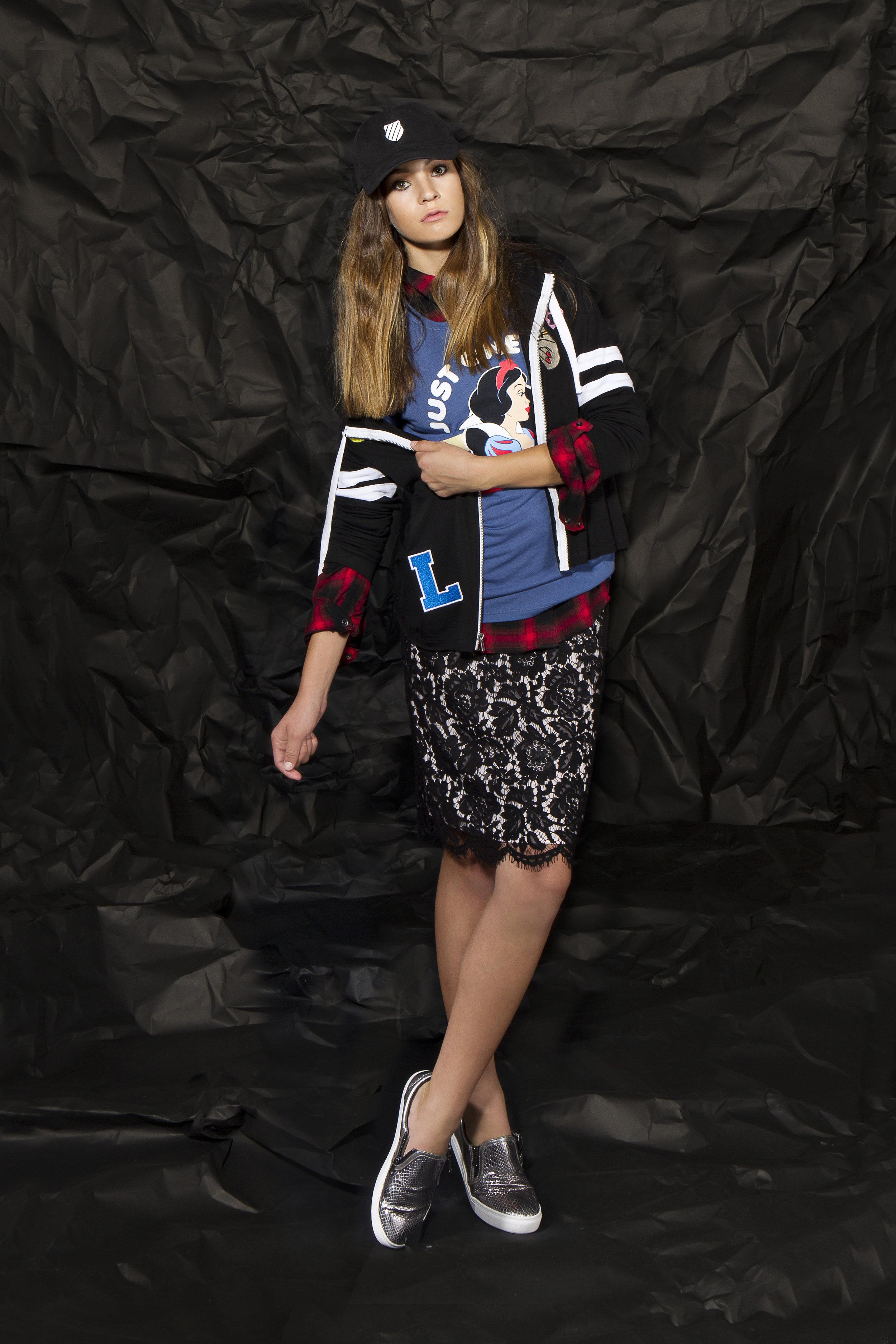 SKIRT SKATER  shirt : Sanctuary | hoodie : Miss Chievous | tee : Disney | shoe : Steve Madden | hat : K-Swiss