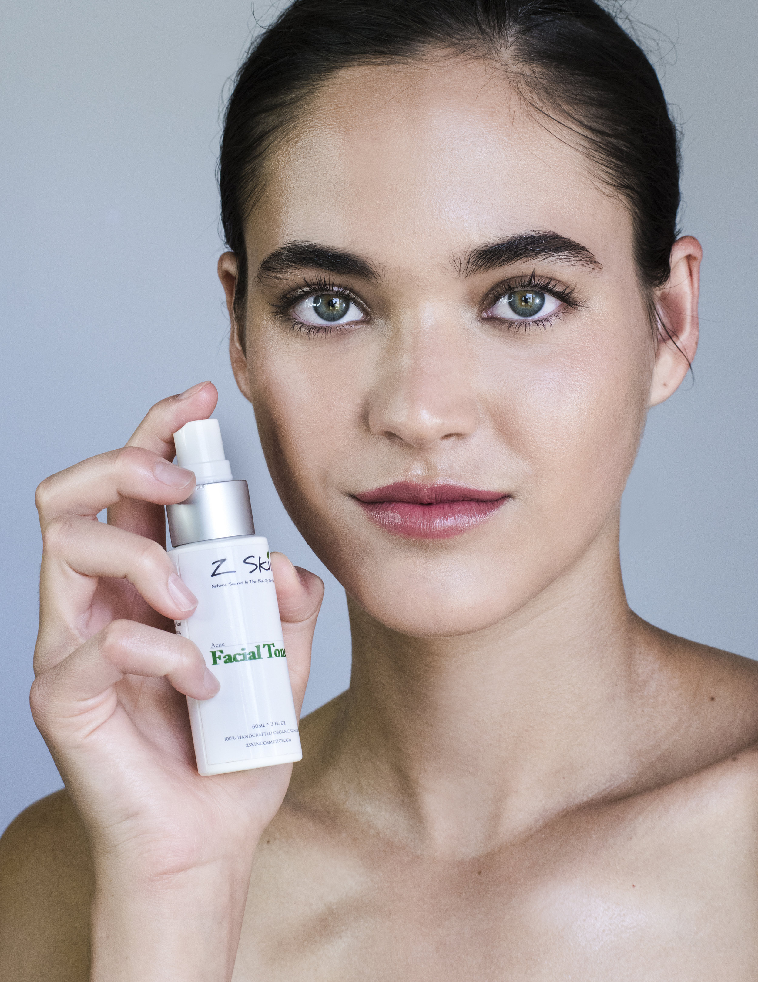 3. Well-Toned - We spritzed our model with Z Skin Cosmetics' Face Lift Toner. This one helps minimize any fine lines and adds a hydration boost. It also feels refreshing and lovely.