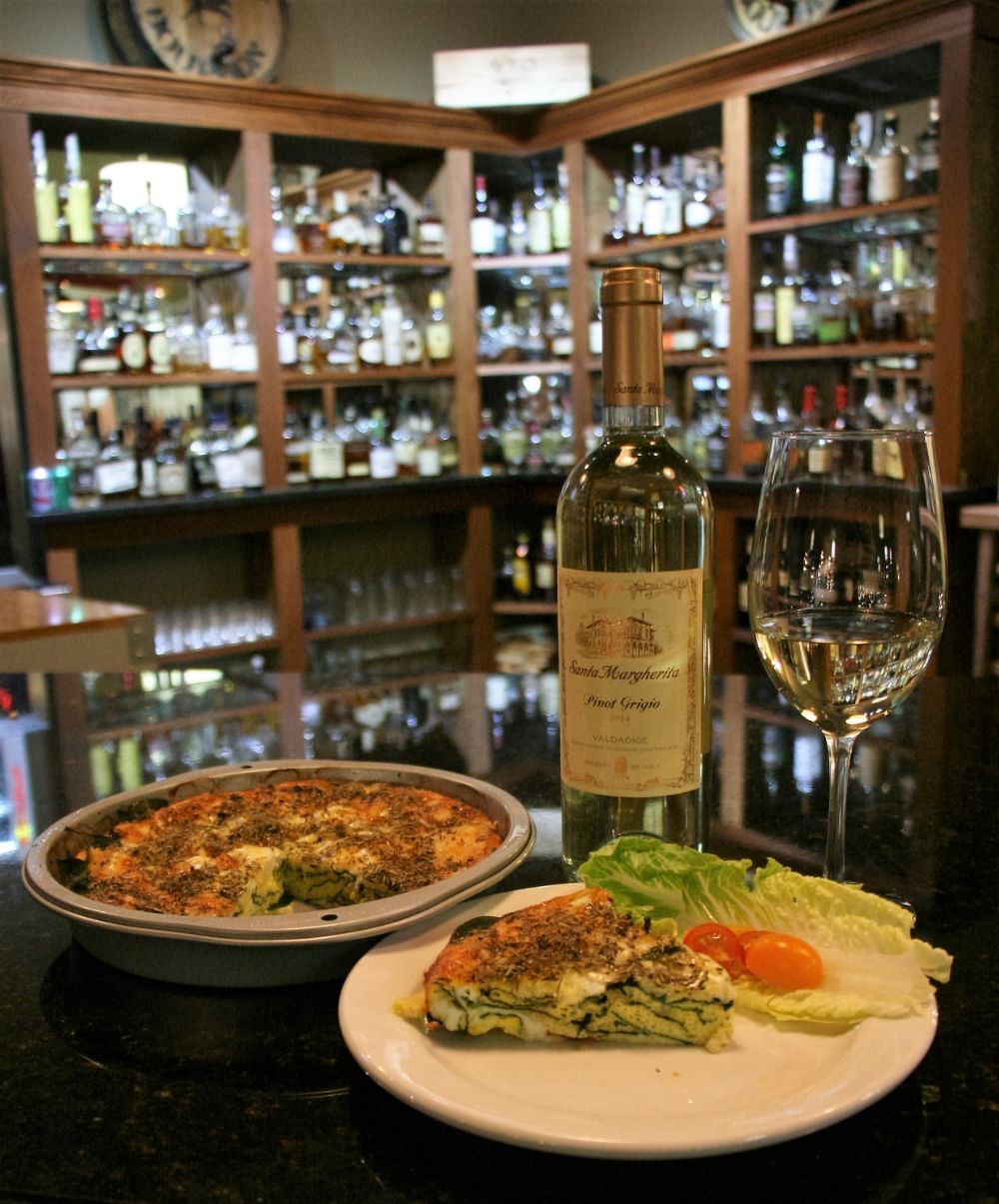 Gluten free Quiche Florentine pairs well with the fine selection of white wines we have.
