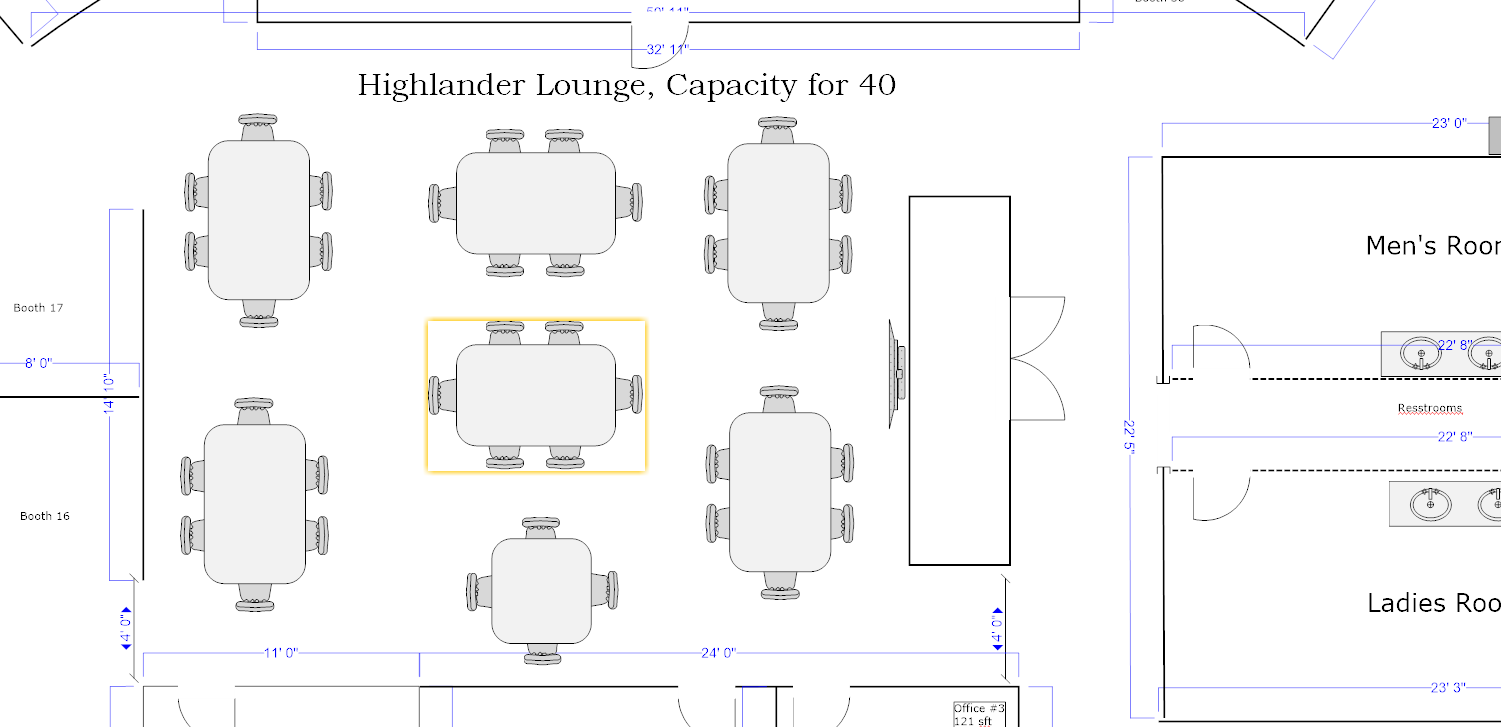 """The Highlander Lounge can be configured for up to 50 guests. It is the perfect place for your off-site meeting, bridal shower, baby shower, anniversary party, surprise birthday party of class reunion. Included is a 55"""" LED TV, Apple TV, DirecTv and FREE parking !!!"""