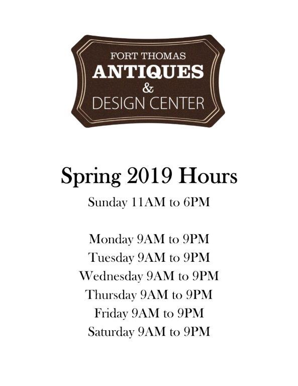 Spring & Summer 2019 Hours