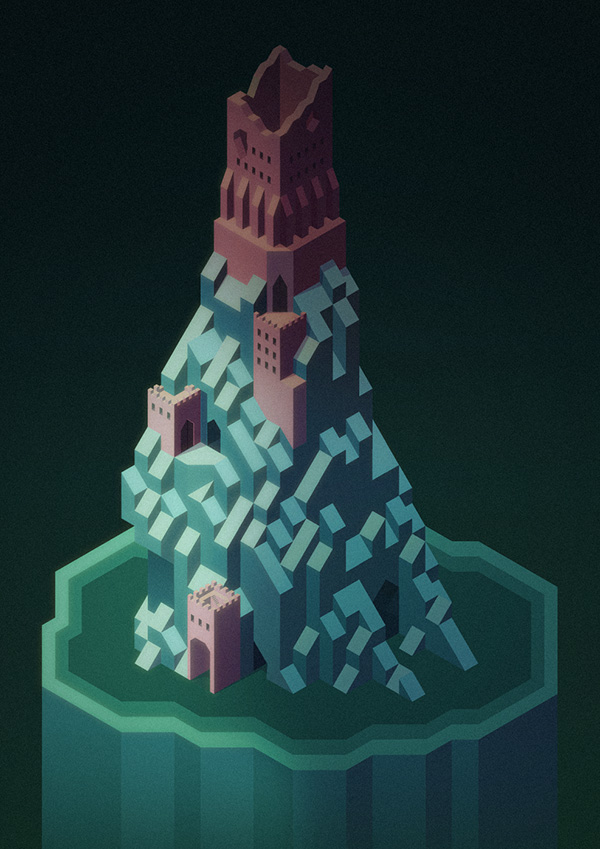 Made another isometric castle thing for fun.