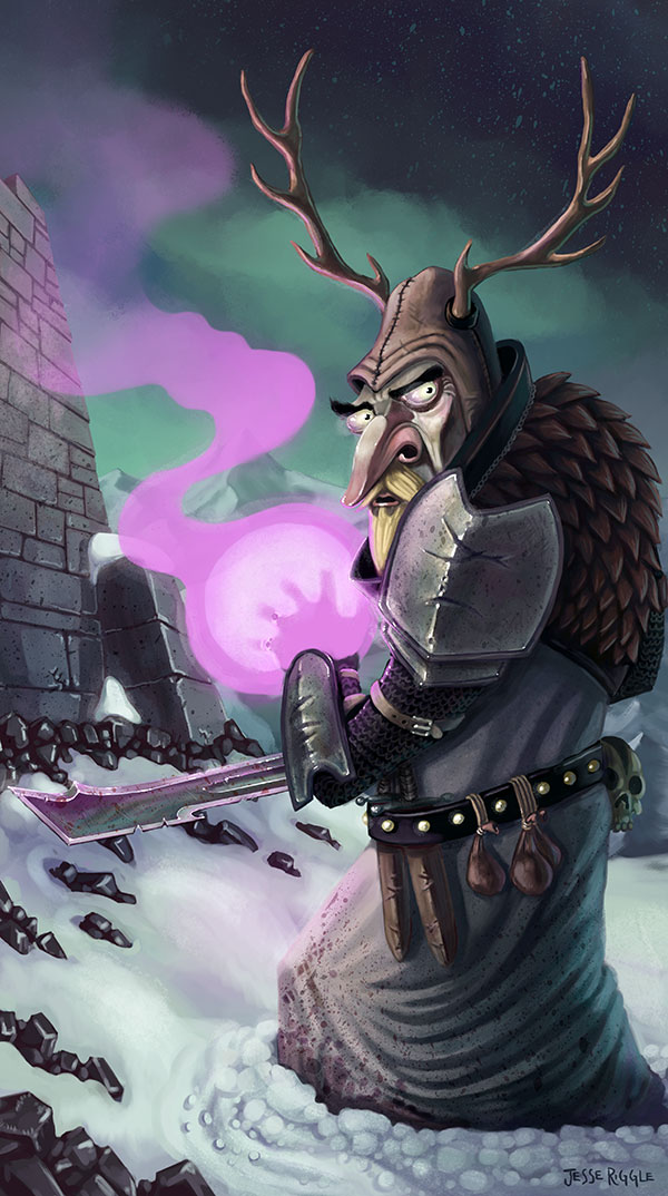 This is Lord Elgr of Elkington, my piece for the  Light Grey Art Lab   Role Model's show and card game . You can buy prints or cards decks  here .   Look at the pink hand glow*!   *You may see another  similar fantasy lad with a pink hand  elsewhere on this tumblr, that one was from an early concept for this one.