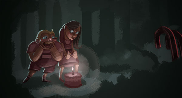 I partook in a workshop at  Light Grey Art Lab  this weekend led by  Victoria Ying  and  Mike Yamada .   It was a great time, highly informative and inspirational.  This is the thing I made for the in-class assignment, making a little character scene of Hansel and Gretel. Nothing like the warm glow of a birthday cake candle to keep you warm in the woods.
