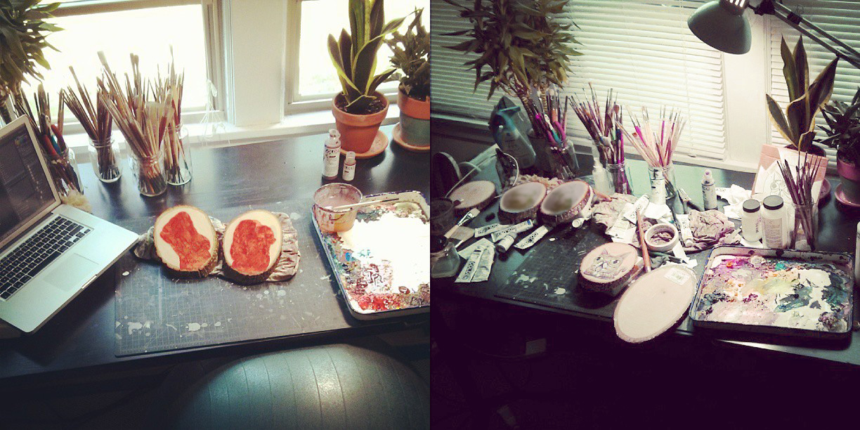 When ever I paint, my desk always starts out so nice and clean and in order…