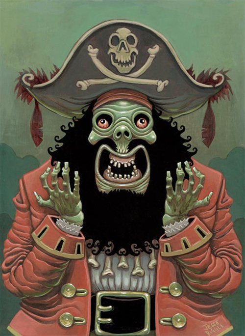 My painting for the Video Game art show at Gallery 1988: Venice, the venerable LeChuck from Monkey Island!