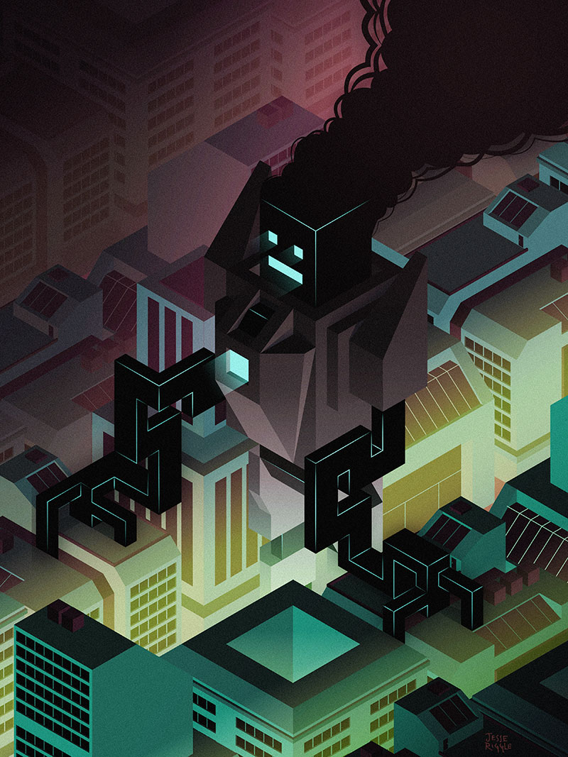 The ROBO show just opened at  Light Grey Art Lab , this is the piece I made for it.  My Robot seems to think this city needs way more air-conditioning ducts. Look at him go!  Check out the rest of the awesome work  HERE , tons of sweet stuff!   You can totally buy a print  HERE , if that's your thing.