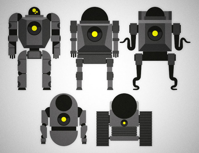 Some miscellaneous robots I made working on a project.