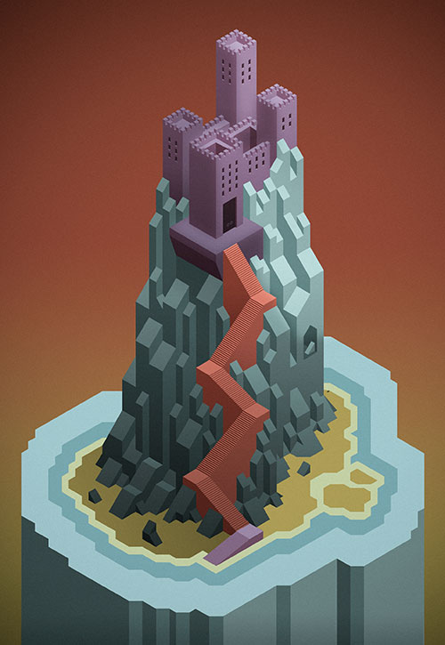 I made this castle playing around with an isometric grid. A mix of illustrator and photoshop.