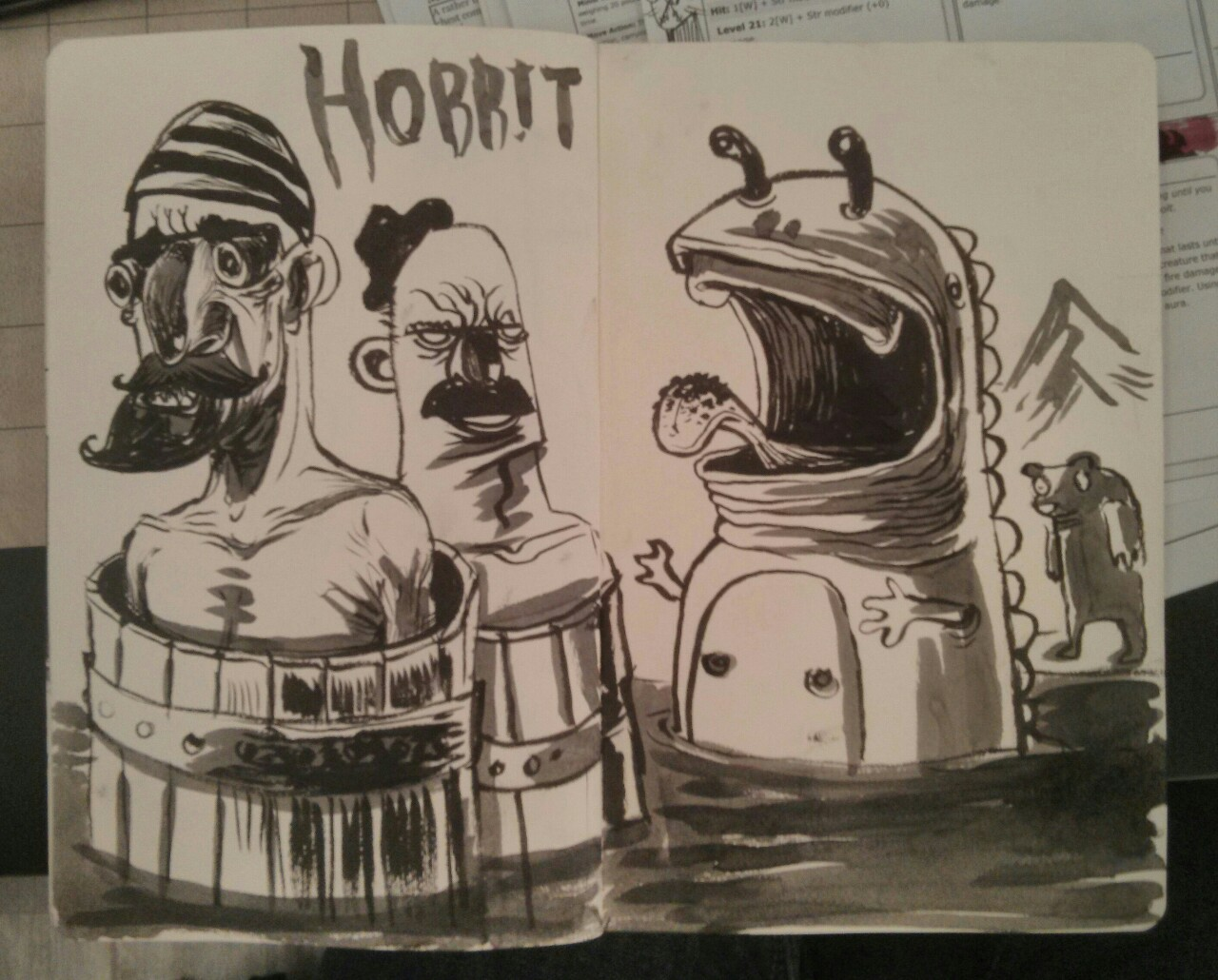 I call this a hobbit drawing. That's Oin and Gloin in their barrels as smaug (now a toothless sea monster) attacks and Bjorn, the werebear watches the action.