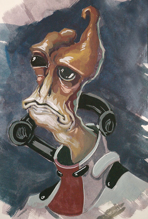 In an attempt to figure what I can do with the goauche paint I bought, I decided to make some Mass Effect fan art. First up: Mordin Solus, maybe my favorite character from the games.   I'll be posting more of these in the days to come. I've been trying to make one a day.