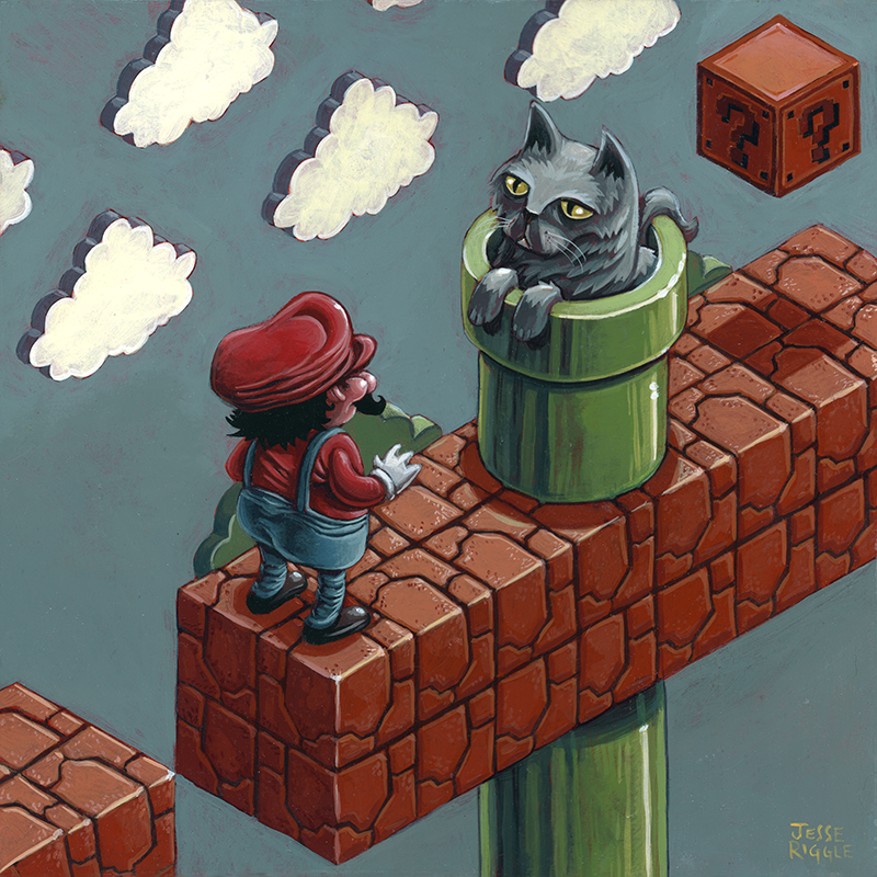 """This painting was made for  Press Paws , a charity show happening at  Gallery Nucleus  on February 9 helping rescue animals find good homes via  What Up Dog! LA .   Pets and video game inspired art work? What could be better!   10x10; Acrylic on board; Titled: """"Stand-off"""""""