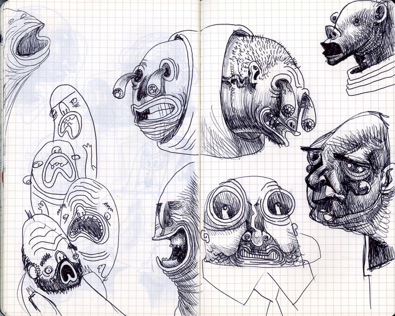 I've been busy painting stuff, but nothing I can show just yet, so you know, here is a page from my sketchbook. I forgot how fun it is to draw with ballpoint pens.
