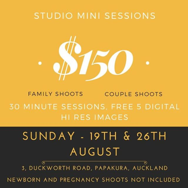 INTRODUCING MINI SESSIONS, first time ever! Great Mini-session in our Papakura based studio for Families and Couples. Short and sweet 30 minute session to help you capture some high quality professional images.  Bookings essential, available only on Sunday 19th and 26th August 2018. Call or text 021771197 for bookings. visit, www.vintographs.com *Pregnancy and Newborn sessions not included in the mini sessions.