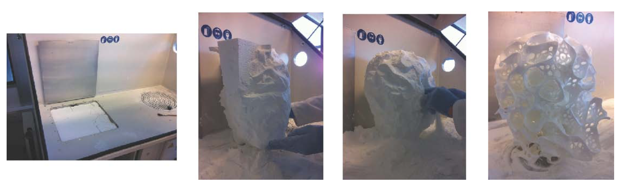 Stages of the 3D Printing Process. Stripping Away of Extraneous Nylon Powder to Reveal the Printed Nylon Head