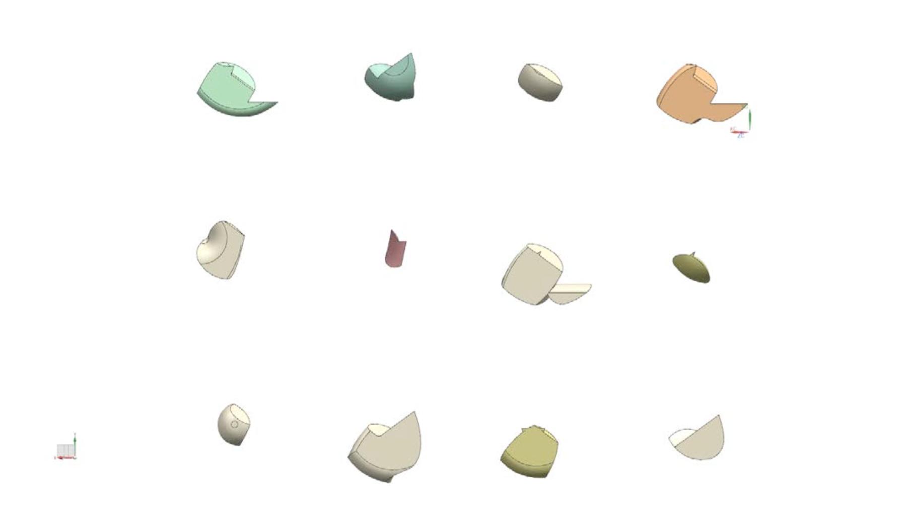 One generation of shapes generated using EvoShape