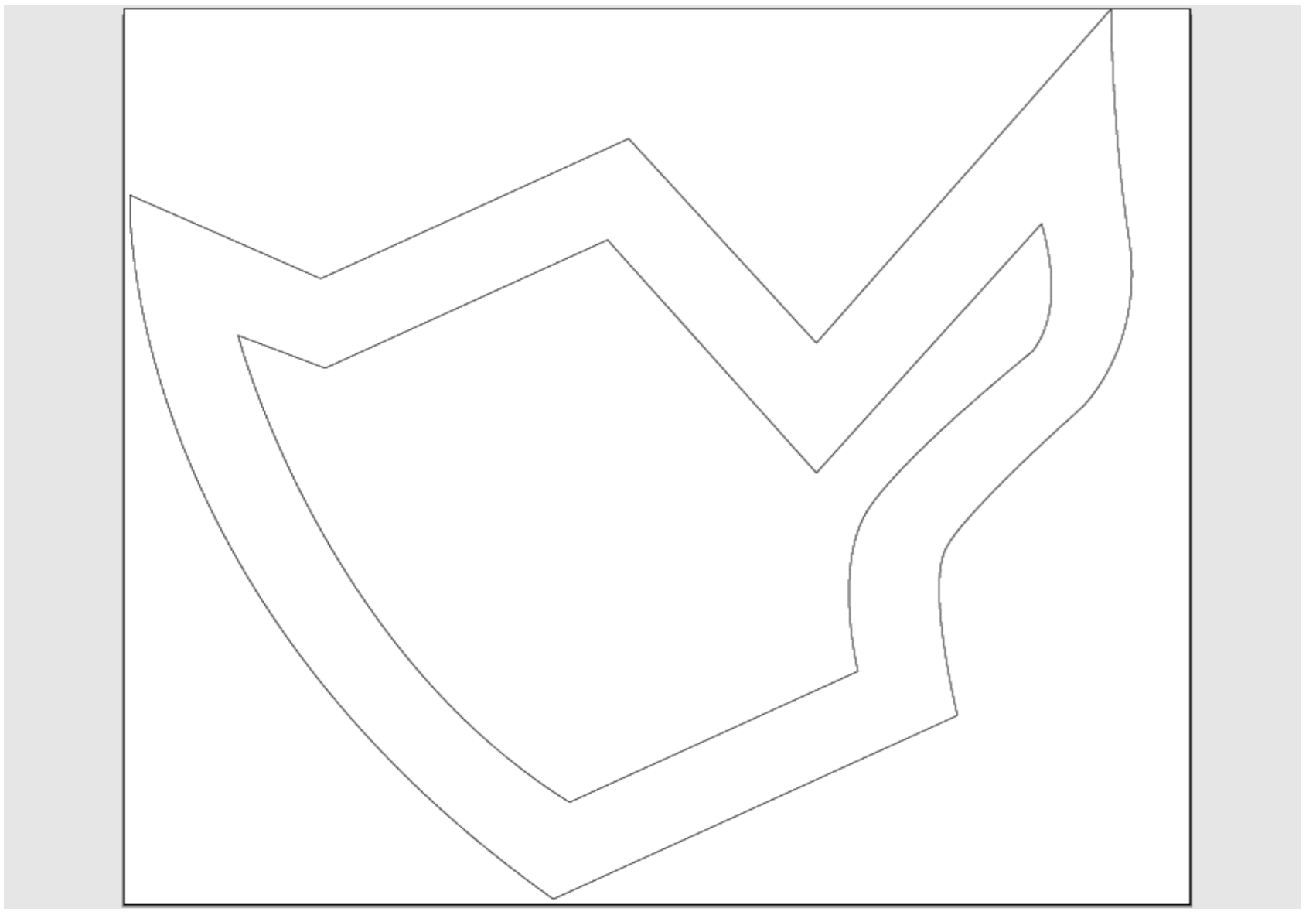 EvoShape, taken from the same generation as the shape above. Translated via drawing into Illustrator to be used as a template by the Water Jet Cutter.