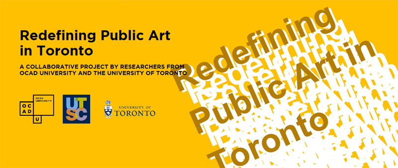 Dr. Sara Diamond, President & Vice-Chancellor, OCAD University, invites you to the launch of  Redefining Public Art in Toronto , a collaborative research project between OCAD U and the University of Toronto.  Please join Dr. Diamond and Dr. Daniel Silver, Associate Professor of Sociology at the University of Toronto, for a presentation and discussion of this blueprint for the future of public art in Toronto at our new professional Gallery, Onsite.