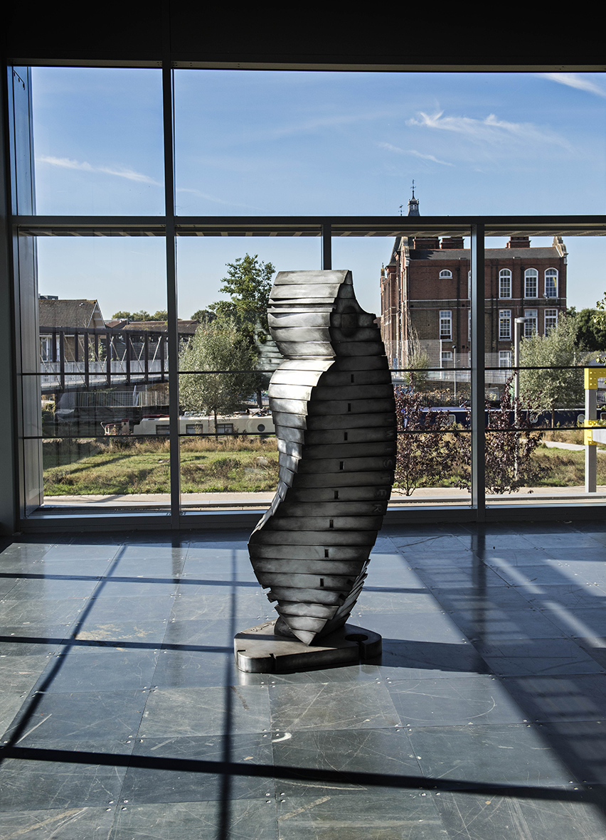 Twister, 2017. 220 cm tall: Fabricated Aluminium: Here East Gallery, Queen Elizabeth Olympic Park, Stratford, London.