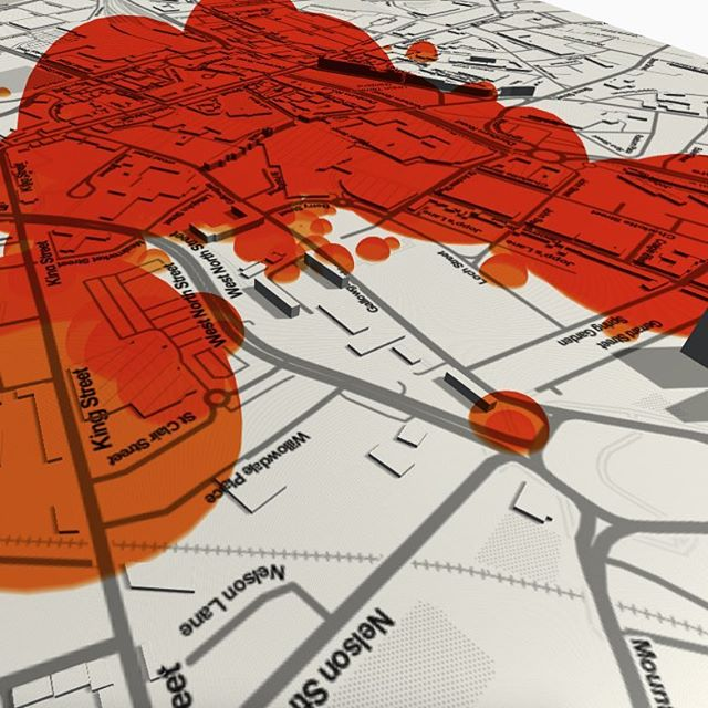 Data visualising with image overlay #mantle3dtech #dataviz #visualize #imageoverlay #3d #mapping #factualdata #geolocation #visualmapping #scotland #infographic #city #gps #render #nofilter #grayscale #orange #data