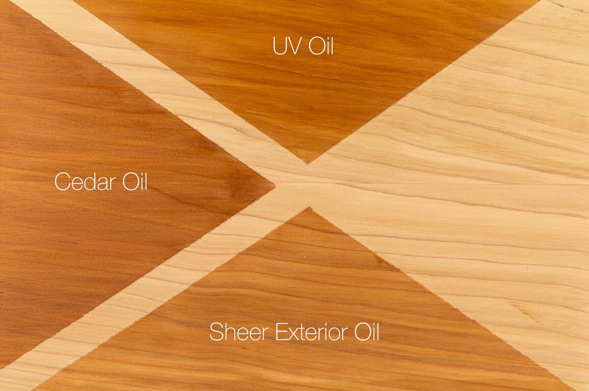 Camparison of    Treatex Cedar Oil   ,    UV oil    and Exterior Oils Sheer on freshly sanded Western Red Cedar