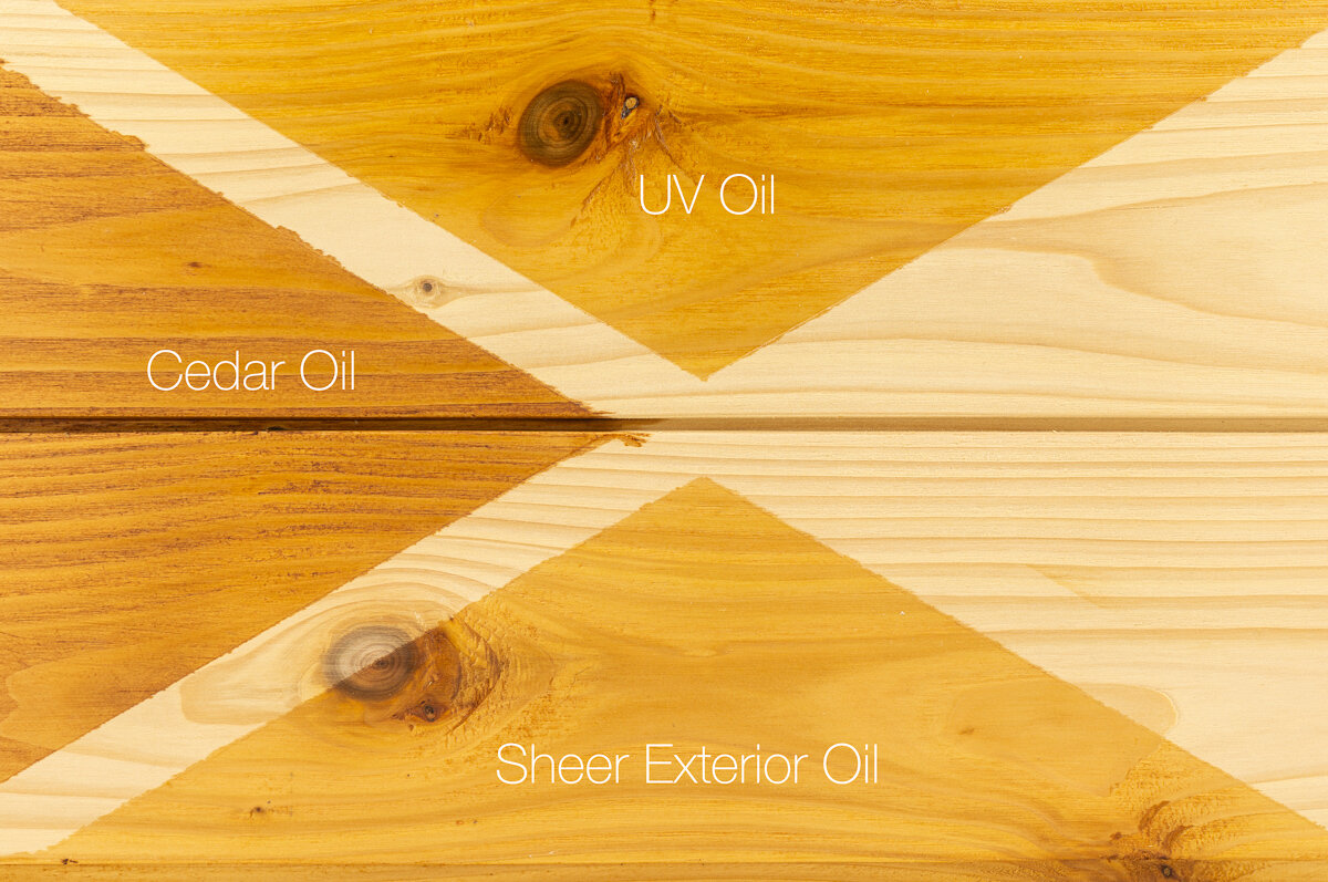 Camparison of    Treatex Cedar Oil   ,    UV oil    and Exterior Oils Sheer on Larch