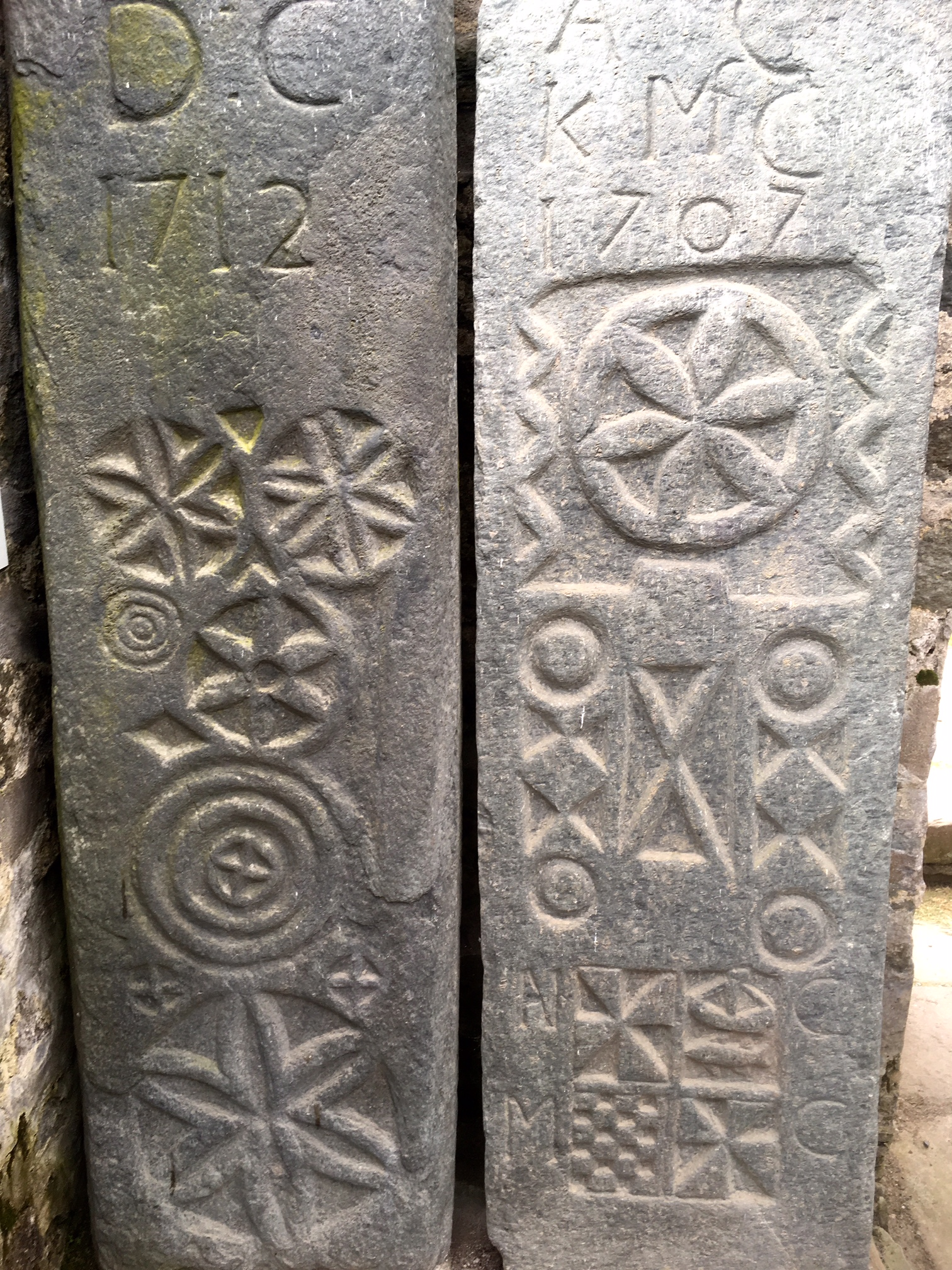 They could be 70's 'flower power' but they were carved in the 1700s