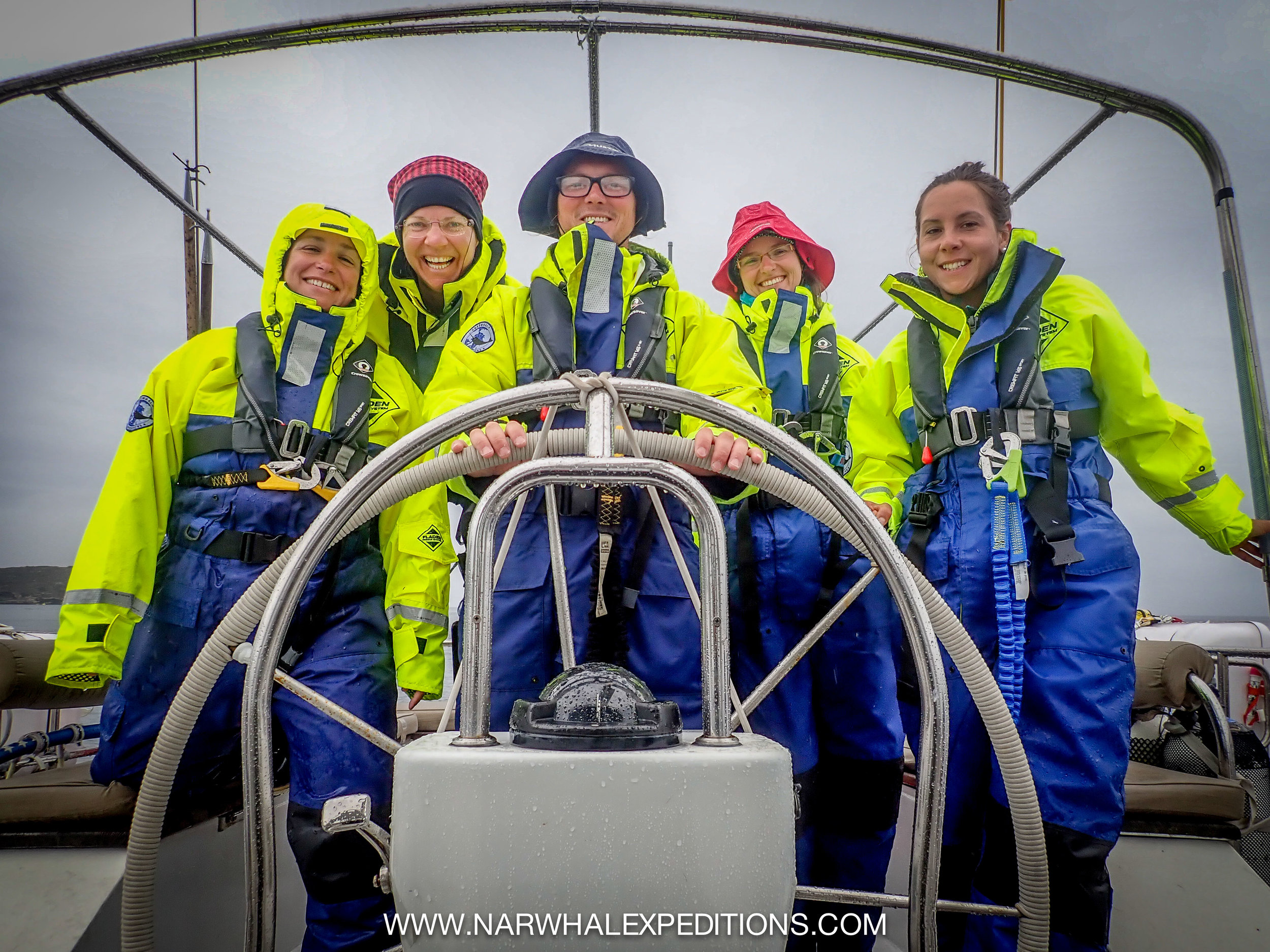Meet the crew: Crowdfunder winner and plastic cleaning ninja Wendy, Ocean sailor and pharmacist Maaike, self titled galley slave and generally awesome at everything Eric, Biochemist and chief cetacean spotter Lisa, expedition film maker Caroline, plus yours truly behind the camera.