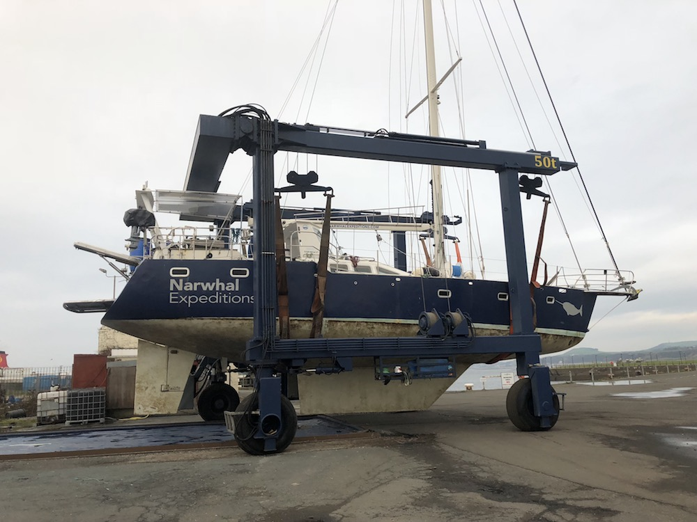 Lifted Narwhal out of the water - Clyde marina gave her undersides a much needed scrub!
