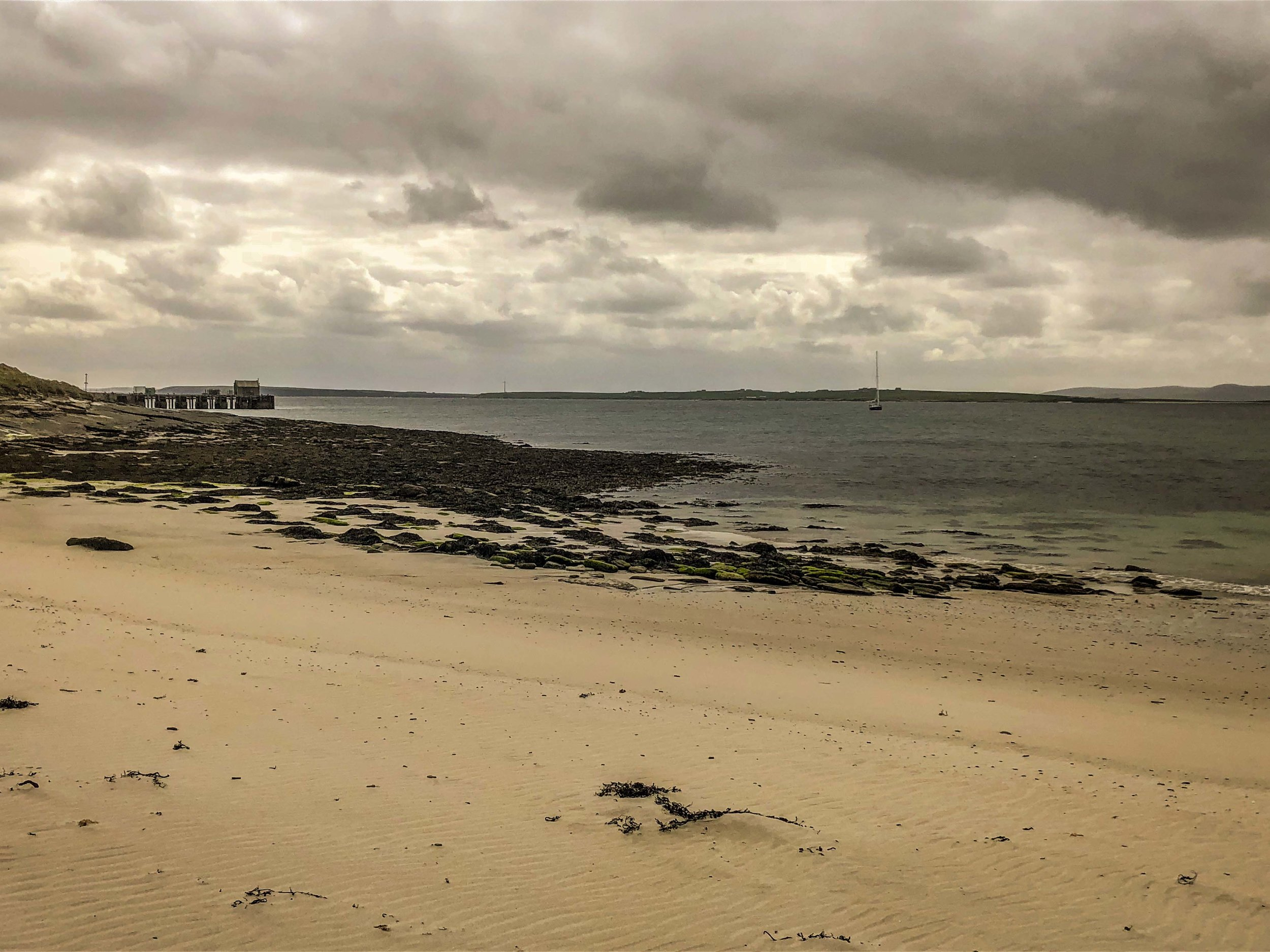 The anchorage and beach on Papa Westray